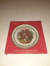 1992 American Greetings Christmas Forget Me Not Porcelain Plate Floral Japan  - $9.89