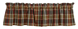 Olivia's country primitive cabin red black yellow cream Montana plaid VALANCE - $22.95