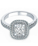 1.09 Carat Ravishing Radiant Diamond Engagement Ring 18k White Gold Halo... - $1,603.17