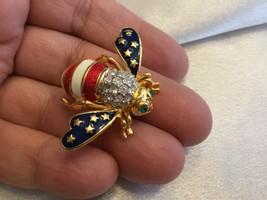 JOAN RIVERS Orig Patriotic American Flag Crystal Enamel Bee Pin/Brooch - $60.33