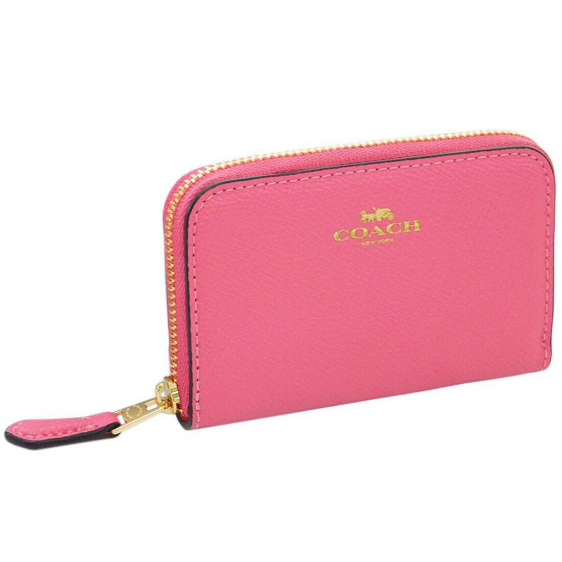 NWT Coach F11484 Medium Corner Zip Snap Wallet Crossgrain Leather Carnation Pink