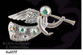 Eisenberg Ice Signed Angel Pin Silver Tone with Rhinestones (#CH1178) - $63.03 CAD