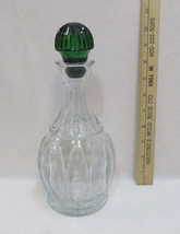 Avon Decanter Clear Glass w/ Emerald Green Stopper Vintage Wine Liquor D... - $10.39
