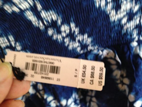 Victoria Secret NEW Blue and White Floral Tie Dye Multi Layer Skirt S NWT $59.50