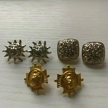 Vintage Anne Klein Logo Lion Head  Pierced Earrings Gold Silver Tone Lot... - $41.90
