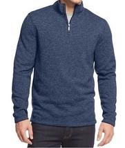 Club Room Mens Sweater Sz XL Indigo Dye Heather Blue Half Zip Casual Swe... - €31,07 EUR