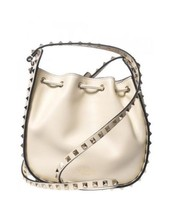 Valentino Rockstud Leather Bucket Bag - Ivory R... - $899.10