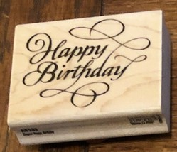 Hobby Rubber Stamp Happy Birthday Cursive 2 3/4 inches - $5.00