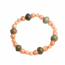 Pink Gray Beaded Stretch Bracelet Handmade Handcrafted Costume Jewelry Gift - $9.99