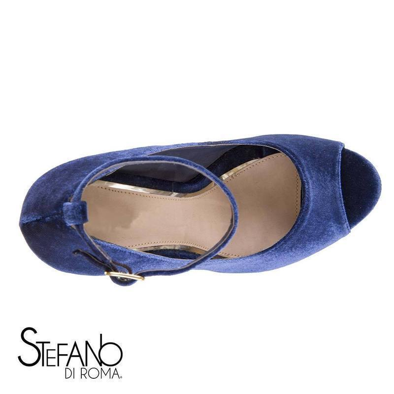Navy Blue Ladies Open Toe High Heels with Velvety Surface and Buckle Strap Adj