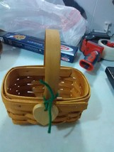Longaberger Small Tea Basket with Heart Tie On - Fixed Handle - 1995 - $6.43