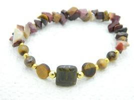 VTG Polished Stone Tiger's Eye Gold Tone Bead Stretch Bracelet - $19.80