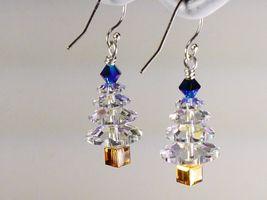 Christmas Tree  Earrings/Blue Gold / made w/Swarovski Crystal Elements / .925 image 3