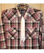 MKS WINCHESTER red/black/white plaid western shirt + white tie XLT(17-17... - $21.77