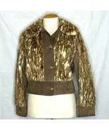 Leather Suede Real Fur Jacket Marbled Mink Coat Brown Spotted Vintage Me... - $197.01