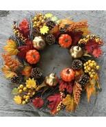 45cm Autumn Wreath Decoration Thanksgiving Garland Window Home Maple Lea... - $38.69