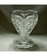 EAPG Zippered Heart Glass Vase, Antique Imperial Glass circa 1910 - $32.90