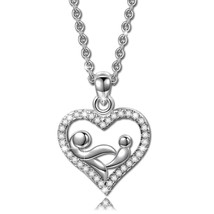 Love Mom Fashion 925 Sterling Silver Women Pendant Necklace. Mothers  - $90.28
