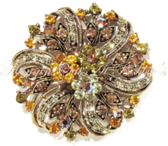 Flower Pin Pendant Brooch Gold Brown Crystal Multicolor Floral Gold Tone Metal - $29.99