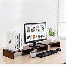 HUVIBE Bamboo Dual Monitor Stand Riser with Length and Angle Adjustable, 3 Shelf image 3
