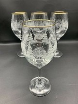 4 VTG Arby's Christmas Wine Goblets Winter White Frosted Gold Rim Libbey Glasses - $56.99