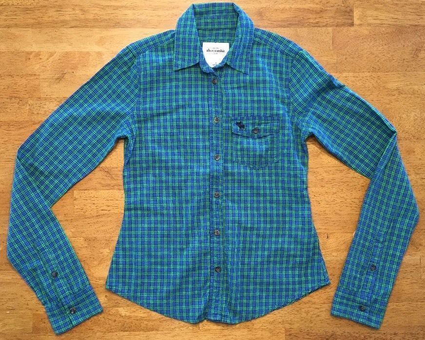 Primary image for Abercrombie Kid's Girl's Blue & Green Plaid Long Sleeve Dress Shirt Size: Medium