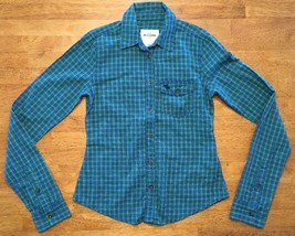 Abercrombie Kid's Girl's Blue & Green Plaid Long Sleeve Dress Shirt Size... - $12.86