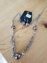 1050 Silver W/ Brown Beads Necklace Set (New) - $8.58
