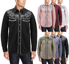 Men's Western Rodeo Style Cowboy Embroidered Tribal Print Dress Shirt