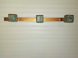 Handcrafted Metal Coat or Leash Rack with Inlaid Turquoise Stones FREE S... - $75.00