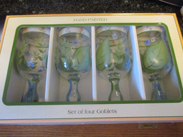 Cambridge Potteries handpainted Willowbrook goblets set of 4 - $35.99