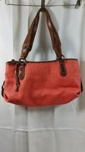 Fossil Womens Purse Handbag Shoulder Coral Woven Summer Leather Satchel ... - $28.49