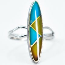 Silver Tone Surf Oval & Triangle Multi-Color Changing Adjustable Mood Ring image 6