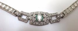 Art Deco Platinum Genuine Natural Diamond Bracelet with Emeralds (#C3489) - $6,494.90