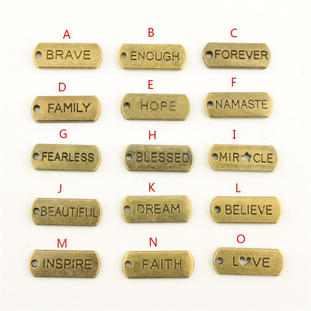 Rust hope blessed tag charms pendant for diy jewelry making handmade bracelet necklace key chain