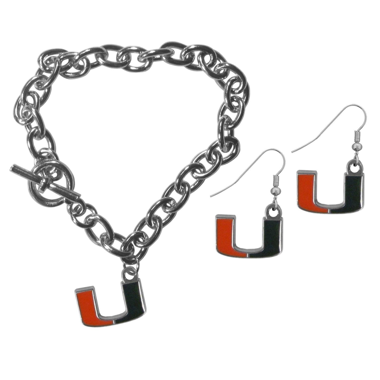 Aa miami hurricanes chain bracelet and dangle earring set default title jademoghul 3656867938408