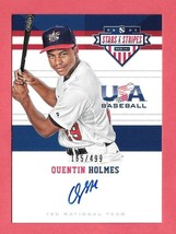 2017 Quentin Holmes Panini USA Stars and Stripes Rookie Auto 165/499 - I... - $2.84