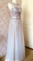 GRAY A-line Embroidery Flower Sweetheart Tulle Gray Bridesmaid Wedding Dresses image 5