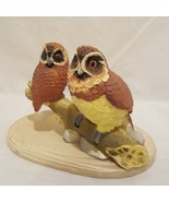 "Vintage Owls Sitting on Branch Figurine Resin Brown 2"" Male Female - $12.89"