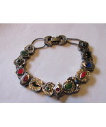 Vintage Silver Toned Slide Bracelet - Charms with Rhinestones and Enameling - £10.86 GBP