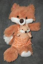 2012 Animal Adventure Mama Fox Baby Plush Stuffed Animal Orange Gingham Apron - $14.83