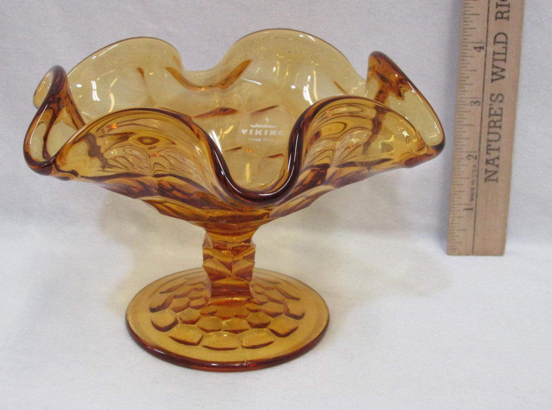 "Viking Glass Pedestal Candy Dish Amber Color Ruffled Rim Edge 4 1/4"" Vintage - $14.84"