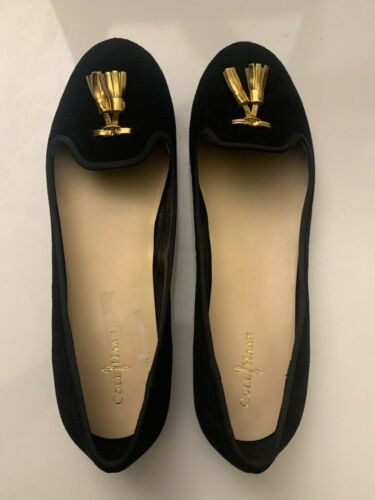 New Cole Haan Women's Black Felt Slip-On Loafers 9.5 B Gold Tassels Shoes image 9