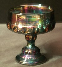 Iridescent Purple King's Crown Carnival Compote Thumb Print Design AA18-1215