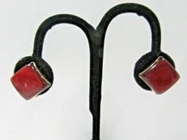 Dark Red Moonglow Screw Back Earrings Vintage Mid Century - $15.00