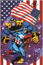 Jim Starlin SIGNED Marvel Comics Avengers Art Print THANOS Vs Captain America - £39.78 GBP