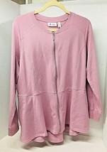 D & Co Denim & Company Soft Pink Zip Front Jacket Knit Tee Shirt Fabric ... - $22.28