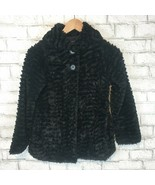 Patagonia Girls Thick Black Fluffy 2 Button Dressy Coat Jacket Size Medium - $31.49
