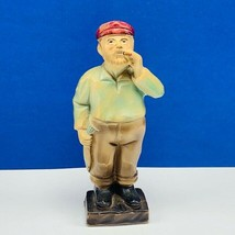 Fisherman carved statue West Germany W fish cigar sailor captain figurin... - $23.71