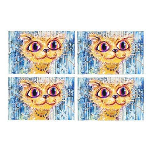 InterestPrint Pretty Cat with The Mouse and Rainbow in Cityscape Washable Fabric